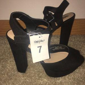 strappy black heels